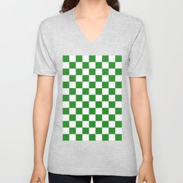 Checker (Forest Green/White) Unisex V-Neck
