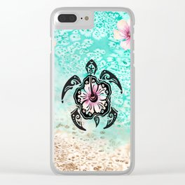 Hibiscus Turtle Clear iPhone Case