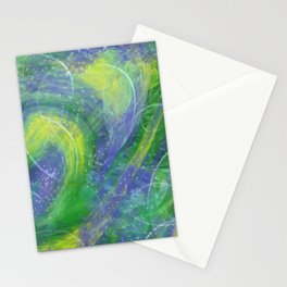 Abstract Blue, green and yellow marbled Stationery Cards
