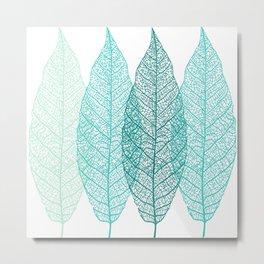 Abstract Skeleton Leaves, Teal, Aqua, Turquoise Metal Print