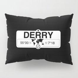 Derry Northern Ireland GPS Coordinates Map Artwork Pillow Sham