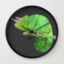 Low Poly Chameleon Wall Clock