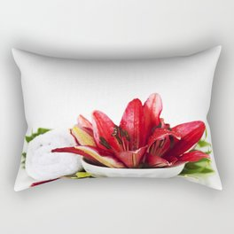Spa concept (flowers, towel and sea salt). White background Rectangular Pillow