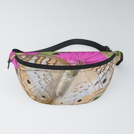 White Peacock Butterfly on Flowers Fanny Pack