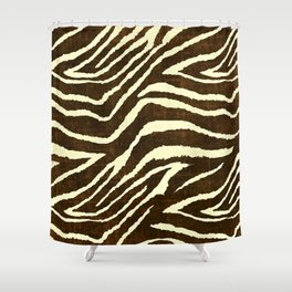 Animal Print Zebra in Winter Brown and Beige Shower Curtain