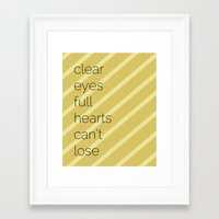 friday night lights Framed Art Prints featuring Clear Eyes, Full Hearts, Can't Lose-Friday Night Lights  v2.0 by MisfitIsle