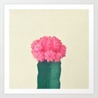 Pink Plaid Cactus Art Print