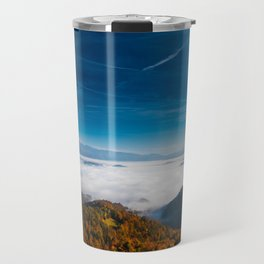 Autumn mountains and fog in the valley Travel Mug
