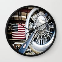 aviation Wall Clocks featuring Aviation in the USA by Eye Shutter to Think Photography
