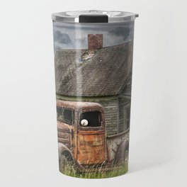 Old Vintage Pickup in front of an Abandoned Farm House Travel Mug