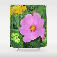 cosmos Shower Curtains featuring Cosmos by Bella Mahri-PhotoArt By Tina
