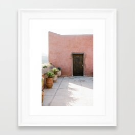 Magical Morocco - Ourika | Coral colored house and wooden door in the atlas mountains Framed Art Print