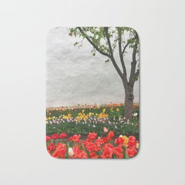 Tulips and a tree Bath Mat