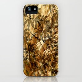 Golden Leaf Shadows Abstract iPhone Case