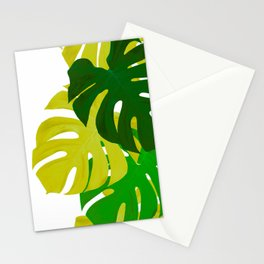 Green Monstera Leaves White Background #decor #society6 #buyart Stationery Cards