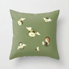 Girl Watching Time Flies Throw Pillow