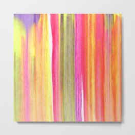 Neon Rainbow Paint Streaks Metal Print