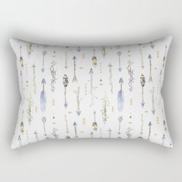Hand painted bohemian watercolor arrows floral pattern Rectangular Pillow