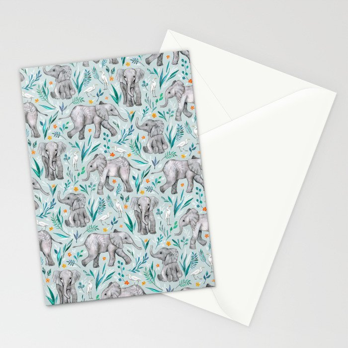 Baby Elephants and Egrets in Watercolor - egg shell blue Stationery Cards
