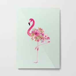 Flamingo with flowers Metal Print