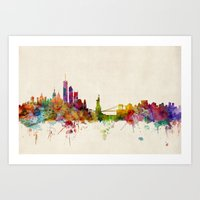new york skyline Art Prints featuring New York City Skyline by artPause