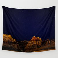 night sky Wall Tapestries featuring night sky by haroulita