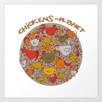 chickens-planet Art Print