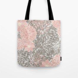 Floral Pattern Dahlias, Blush Pink, Gray, White Tote Bag