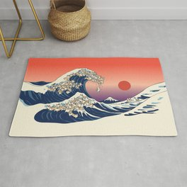 The Great Wave of Corgis Rug