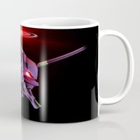 evangelion Mugs featuring Evangelion Unit 01 - Rebuild of Evangelion 3.0 Movie Poster by Barrett Biggers