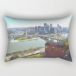 Downtown Pittsburgh point and incline 32 Rectangular Pillow