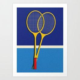 Wooden Badminton Rackets Art Print