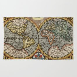 Vintage Map of The World (1596) Rug