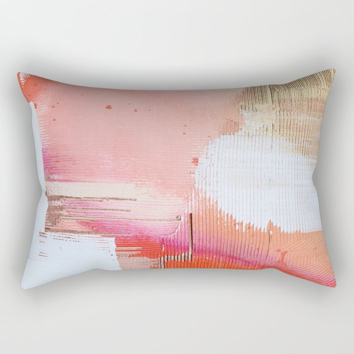 Moving Mountains: a minimal, abstract piece in reds and gold by Alyssa Hamilton Art Rectangular Pillow
