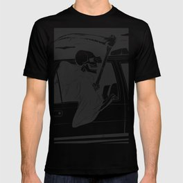 Passenger taxi grim - black and white - gothic reaper T-shirt