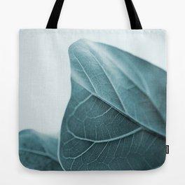 Teal Plant Leaves Tote Bag