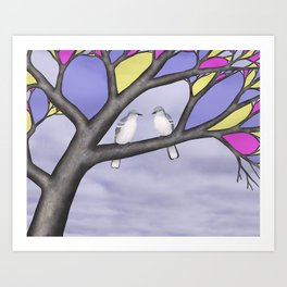 northern mockingbirds in the stained glass tree Art Print