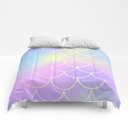 Pink Blue Mermaid Tail Abstraction Comforters