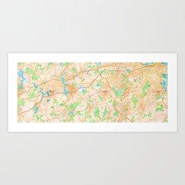 Boston marathon route on watercolor map in maroon Art Print