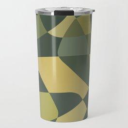 Mid Century Modern Abstract Rock Layers Green Travel Mug