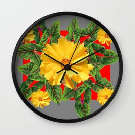 GREY & RED YELLOW COREOPSIS FLORAL ART DESIGN Wall Clock