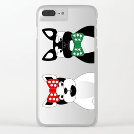 French Bulldogs Merry Christmas Clear iPhone Case