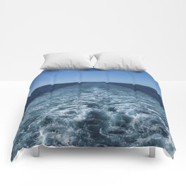 SEA BLUE WAKE AND HORIZON - Pacific Ocean Comforters