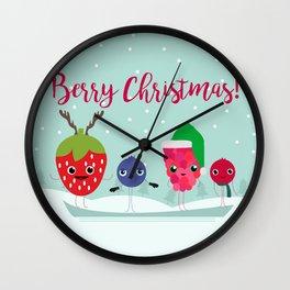 Berry Snowy Christmas Wall Clock