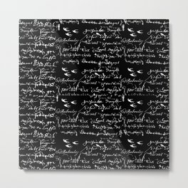 White French Script on Black background with White birds Metal Print