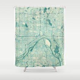 St Paul Map Blue Vintage Shower Curtain