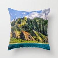 spires Throw Pillows featuring Na' Pali Spires, Kauai, Hawaii  by Elliott's Location Photography