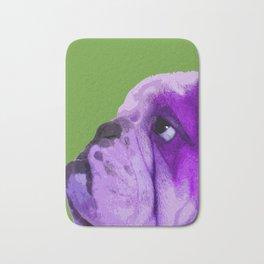 English bulldog portrait, Green Pop art Bath Mat