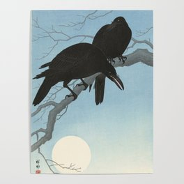 Two crows on a branch, Ohara Koson, 1927 Poster
