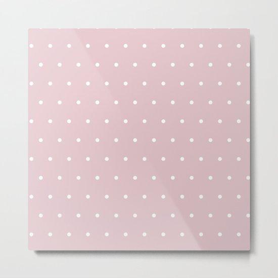 Polka dot dance on pink - White dots pattern Metal Print
